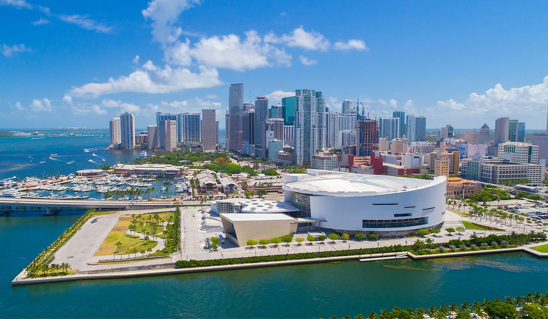 Aerial view of Downtown Miami, Florida. USA, one of the most expensive destinations in the USA.