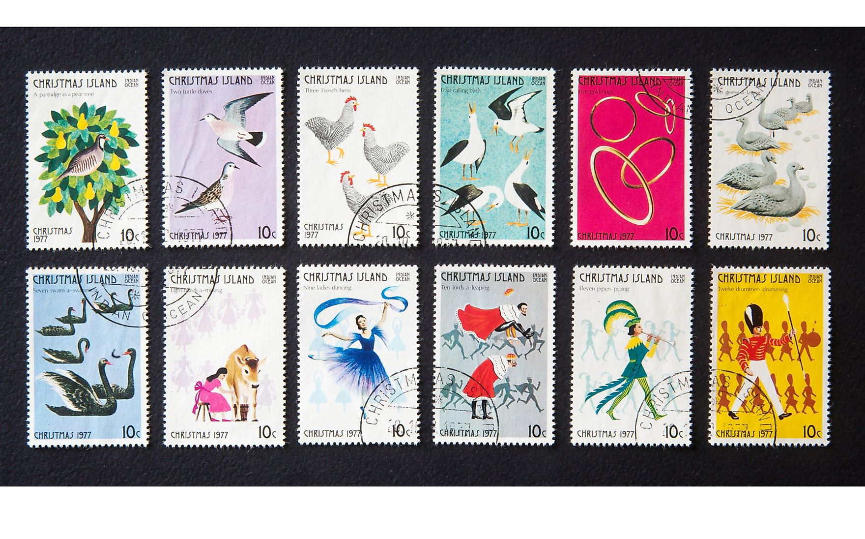 "Christmas Island stamps honouring the ""Twelve Days of Christmas"". spatuletail / Shutterstock.com."