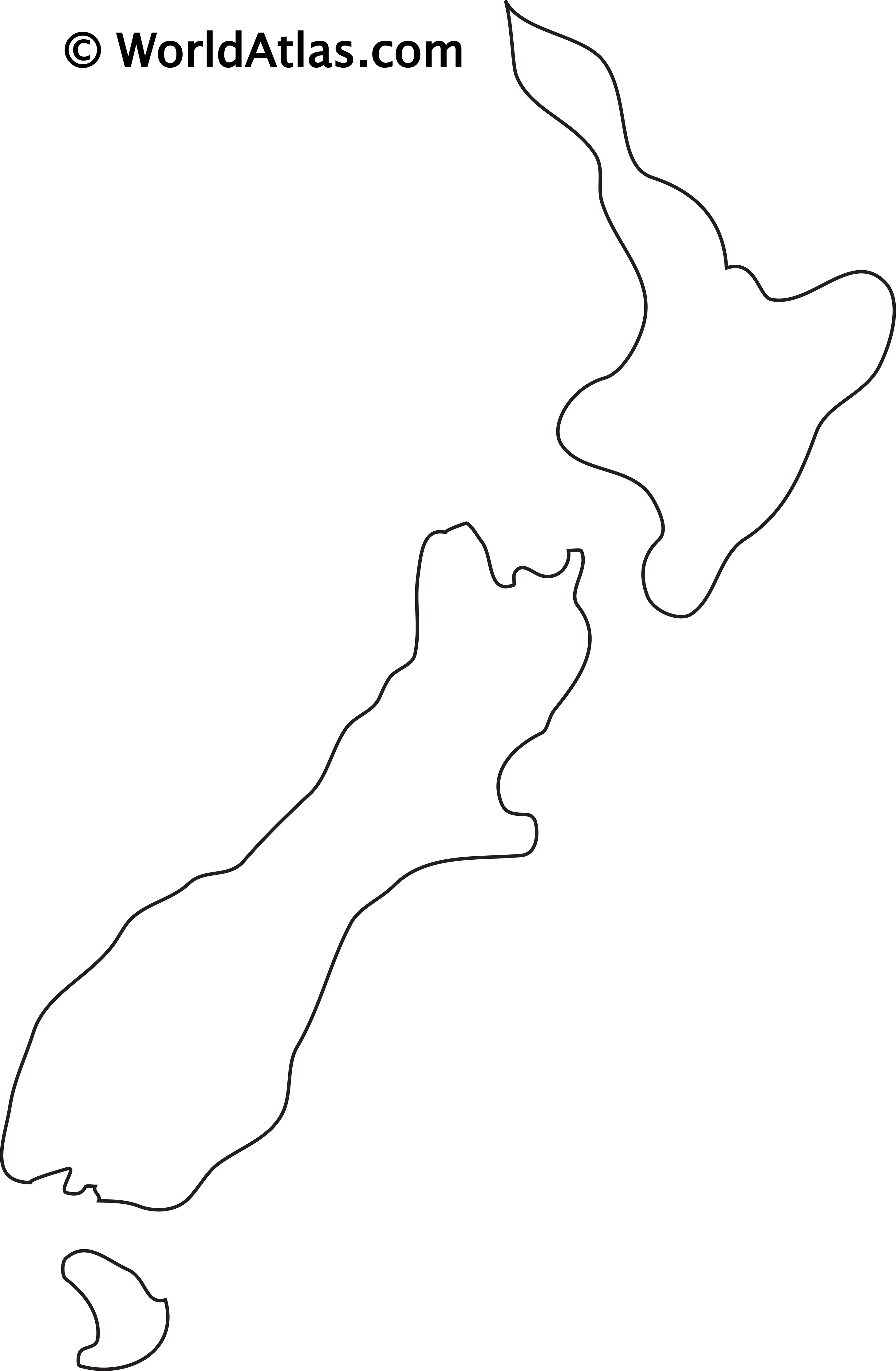 Blank Outline Map of New Zealand