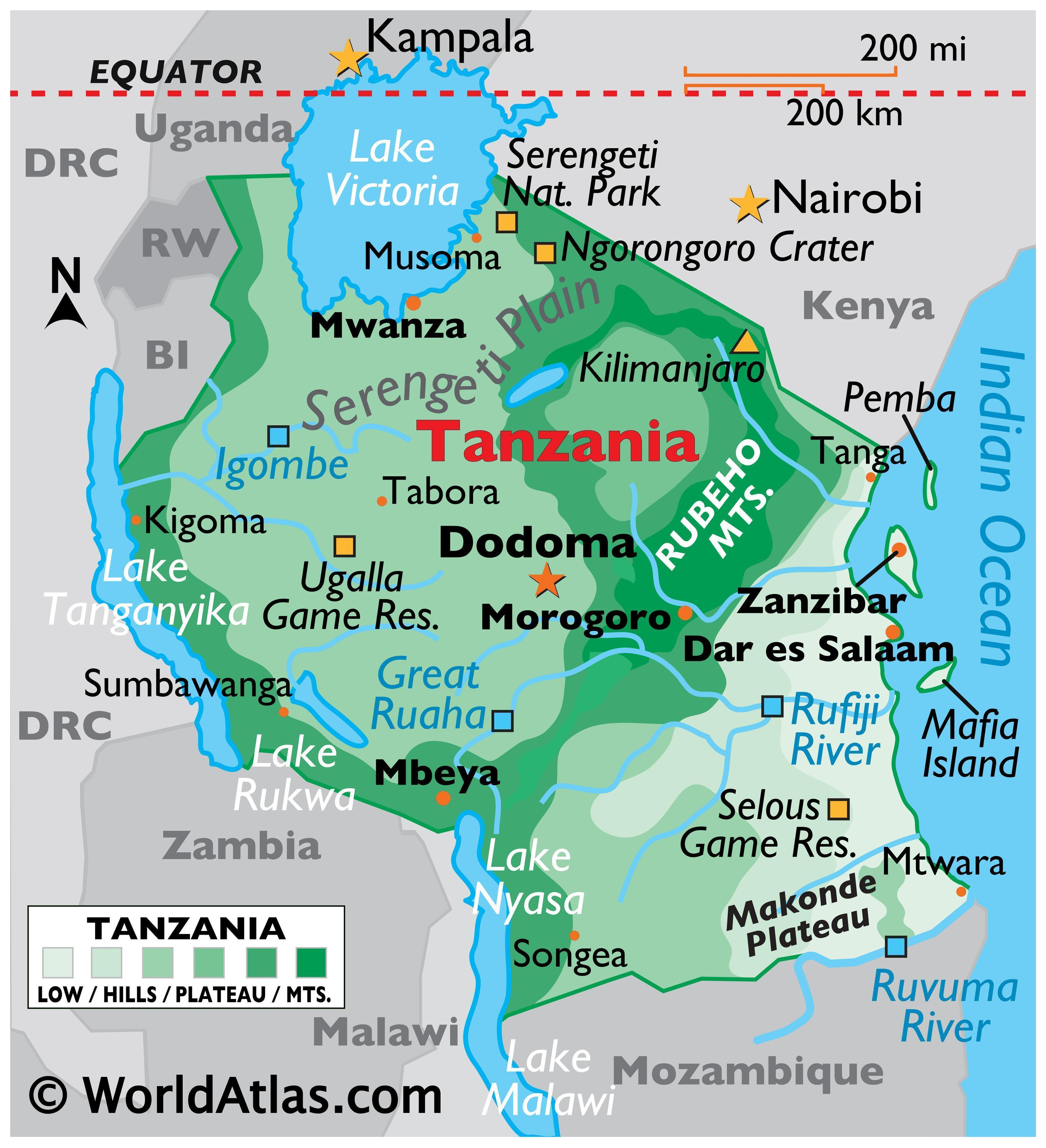 Physical Map of Tanzania with state boundaries, and major physical features like mountain ranges, rivers, lakes, national parks, etc.