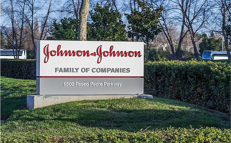 Johnson & Johnson logo in front of one of their office buildings, Fremont, East San Francisco bay area, California. Editorial credit: Sundry Photography / Shutterstock.com.