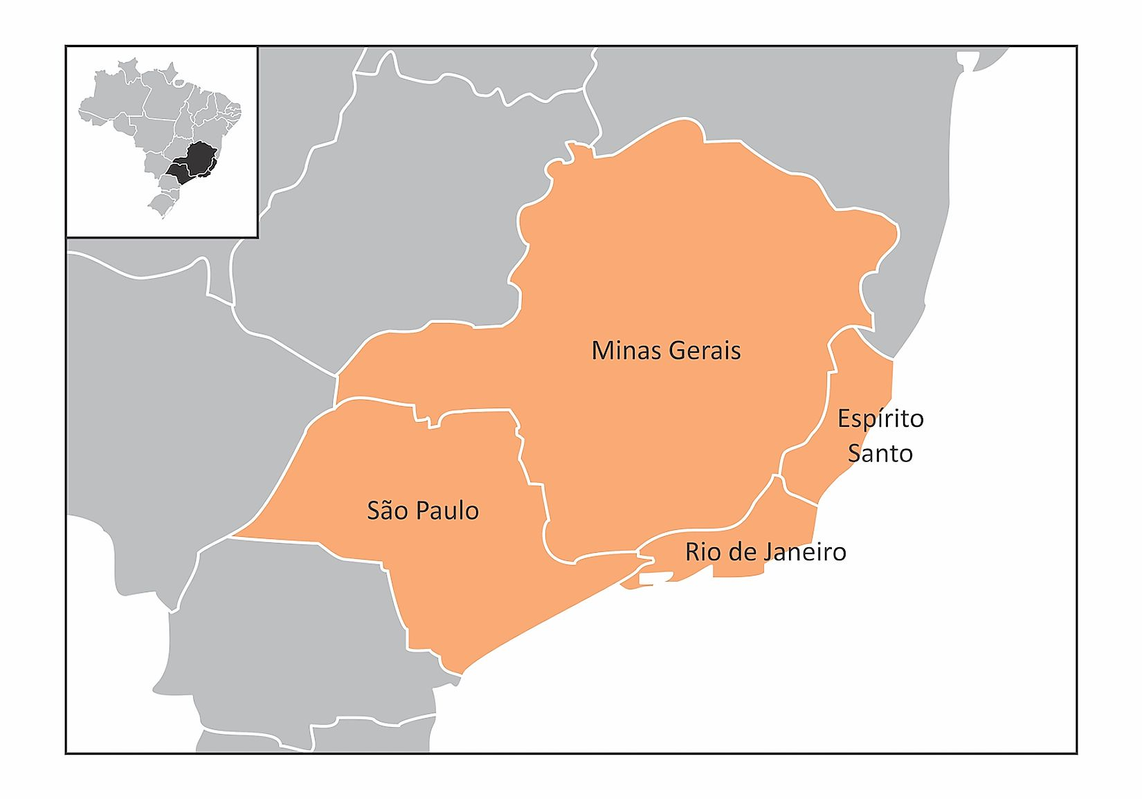 Map of the southeast region of Brazil with the identified states. Image credit: Luisrftc/Shutterstock.com