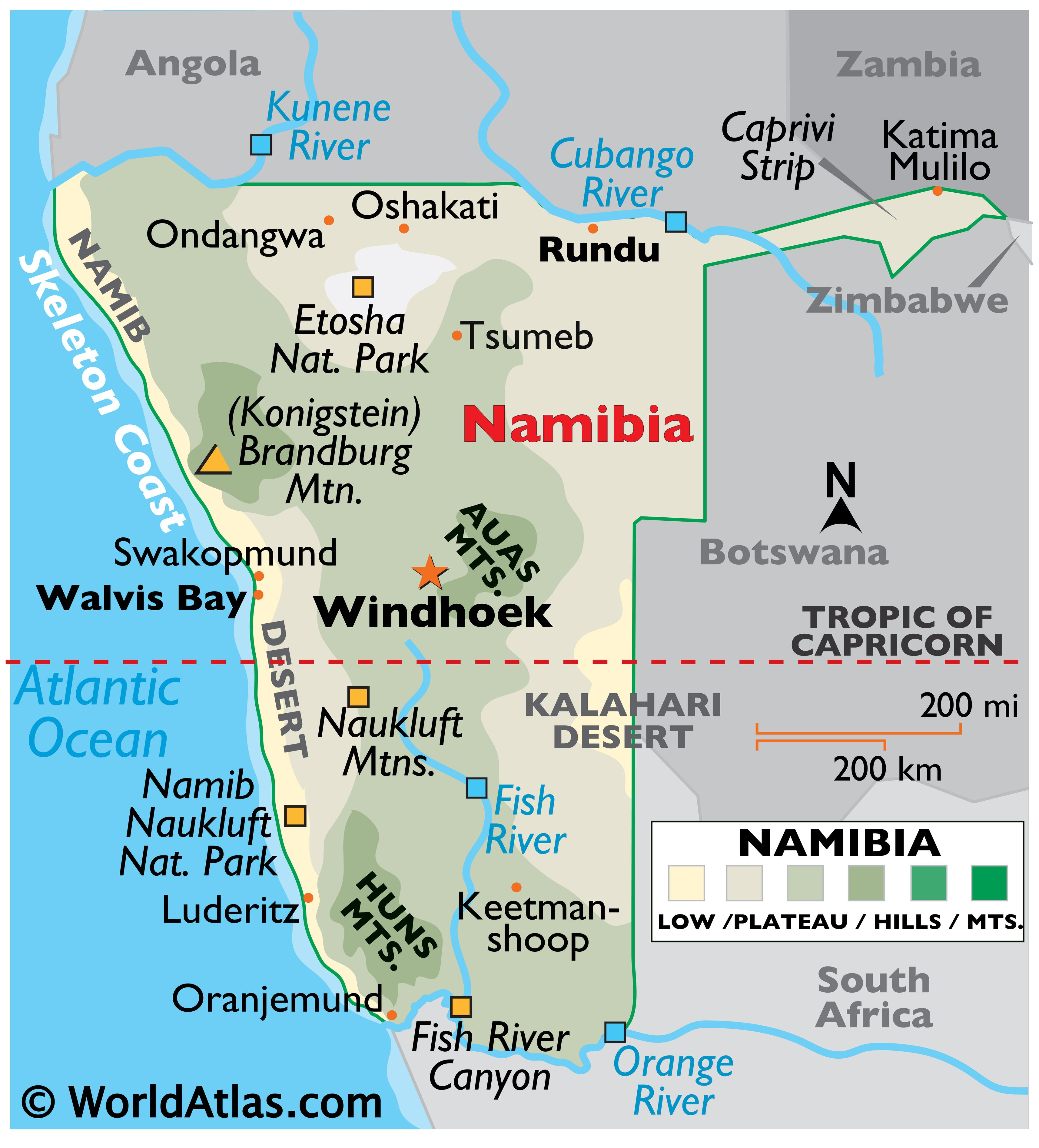 Physical Map of Namibia showing the relief of the country and major physical features like deserts, mountains, rivers, relative location of major cities, and more.