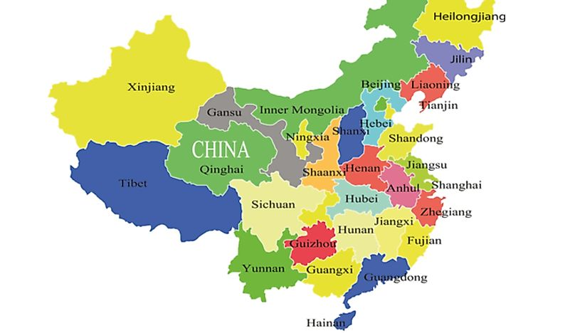 Map showing political regions of China.