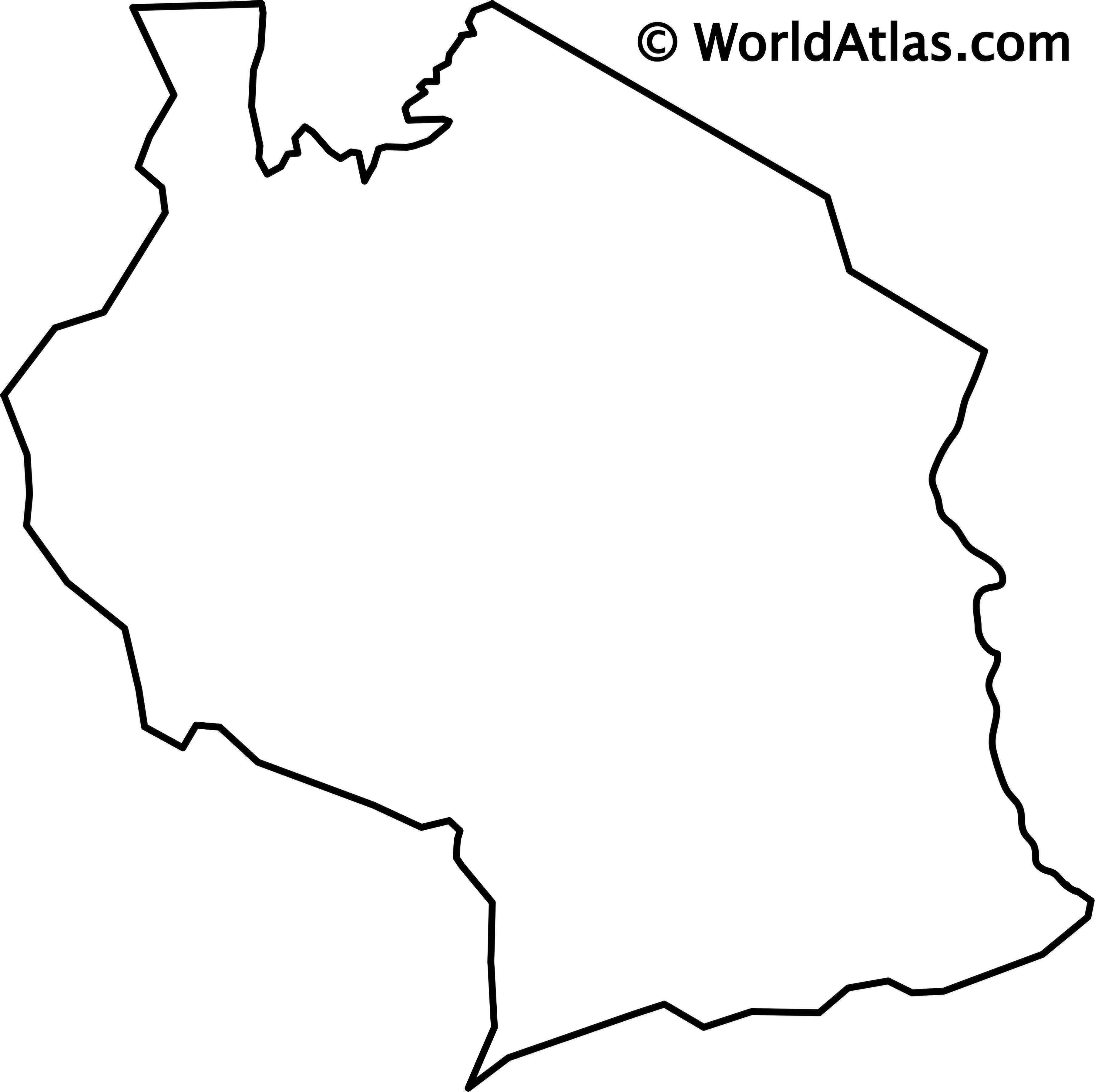 Blank Outline Map of Tanzania
