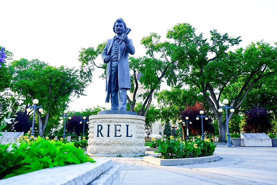 Statue of Metis leader Louis Riel in the gardens of the Manitoba Legislative Building. Editorial credit: Siriphoto87 / Shutterstock.com