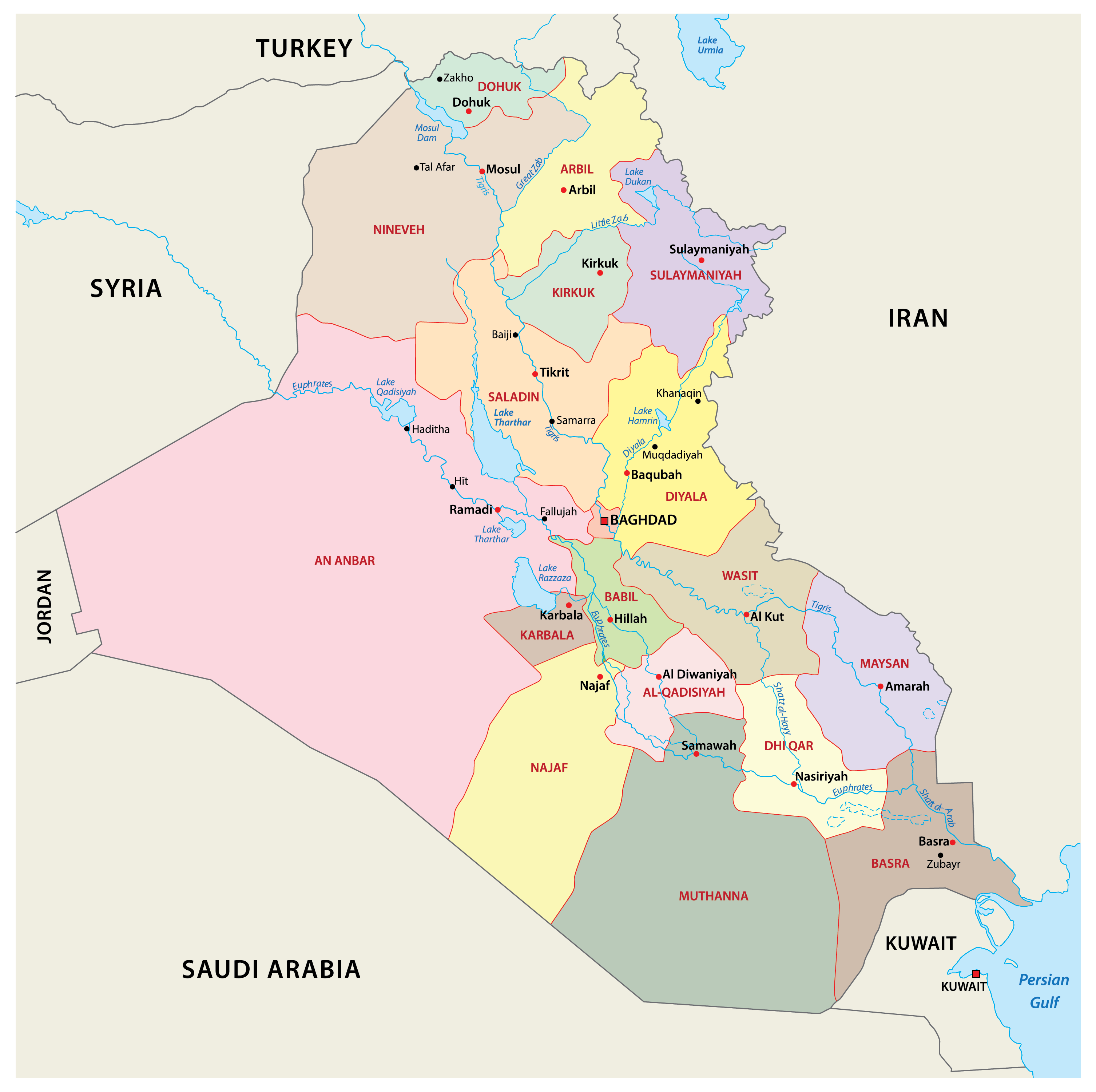 Political Map of Iraq showing the 18 governorates, their capital cities, and the national capital of Baghdad.