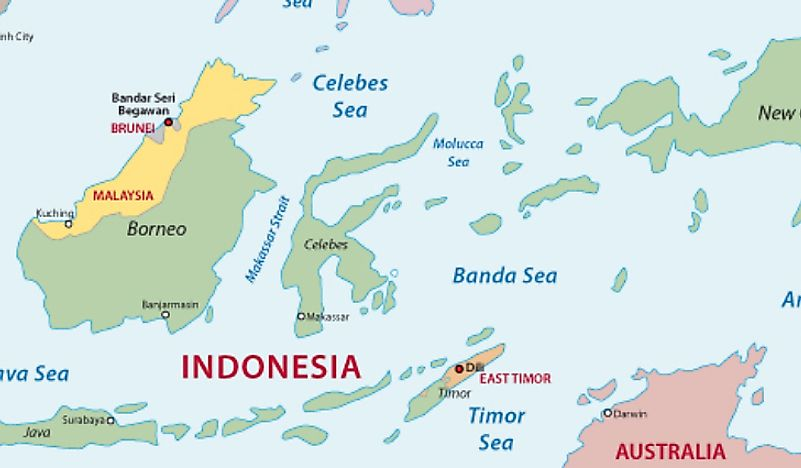 A map showing the Timor Sea.