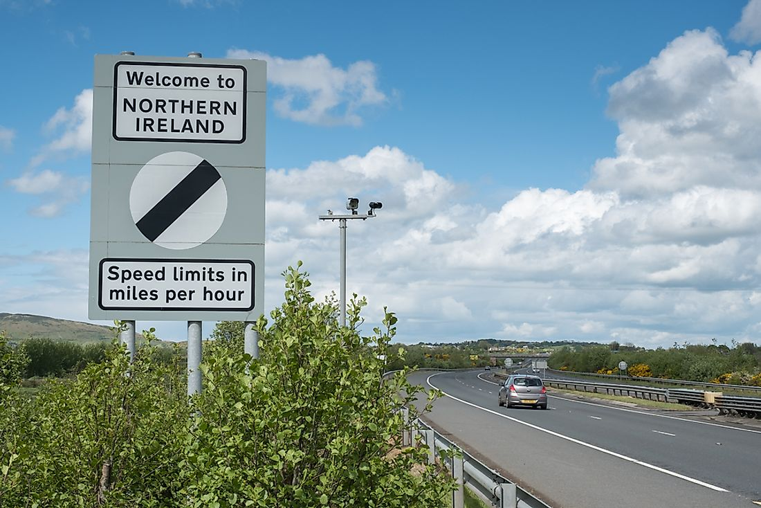 A sign indicating the boundary between Northern Ireland (UK) and Ireland. Editorial credit: Remizov / Shutterstock.com