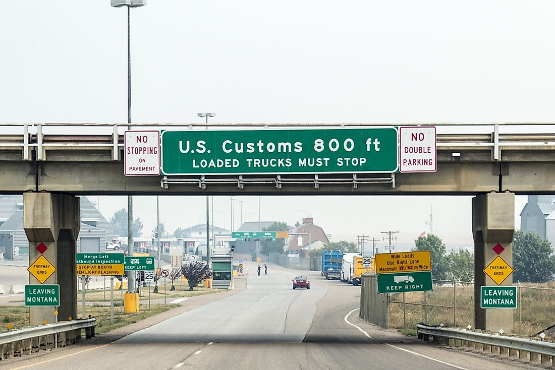 The border between the United States and Canada is the world's longest continuous border.  Editorial credit: Brian Kenney / Shutterstock.com.
