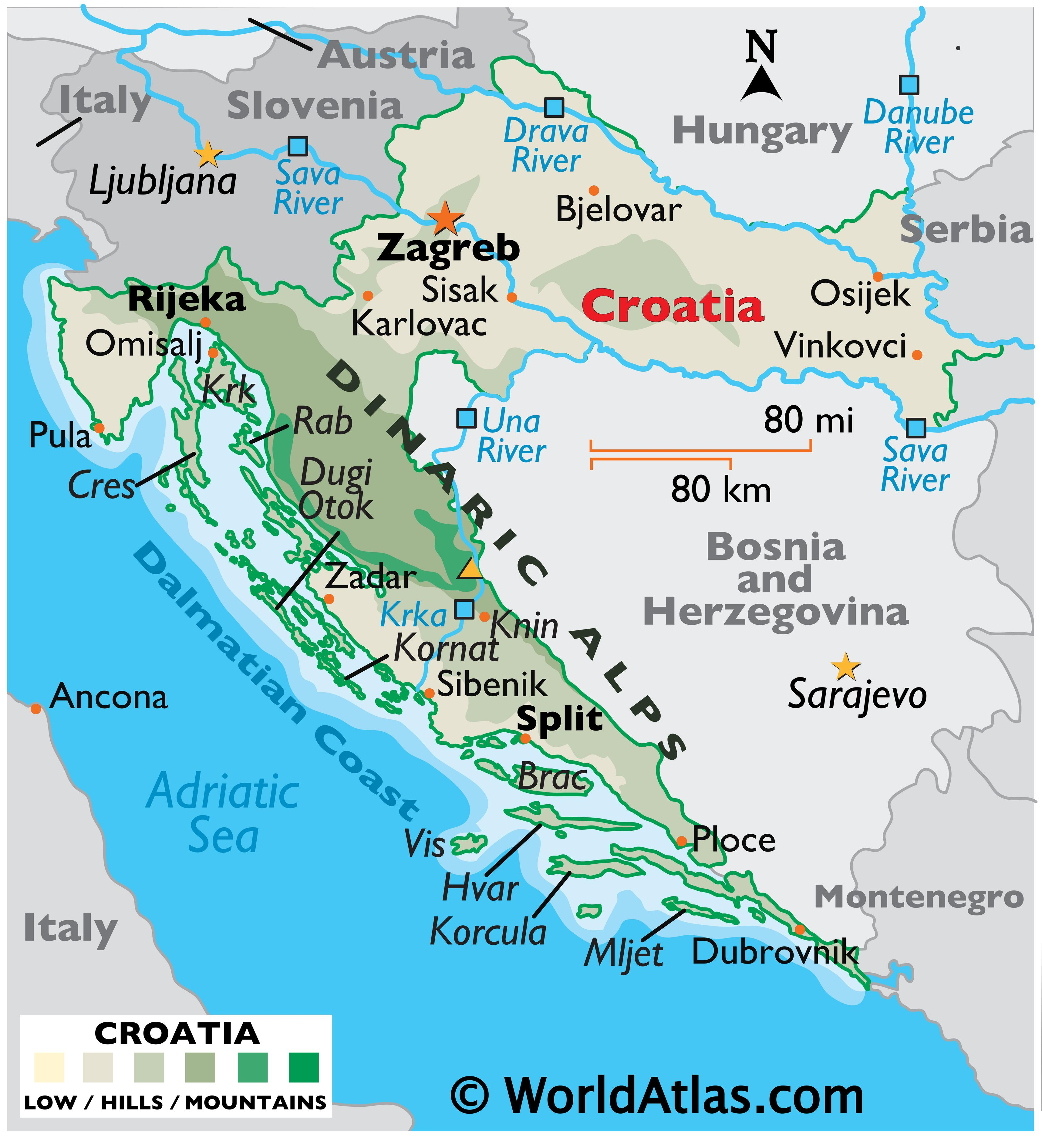 Physical Map of the Croatia showing terrain, mountain ranges, islands, extreme points, major rivers, important cities, international boundaries, etc.