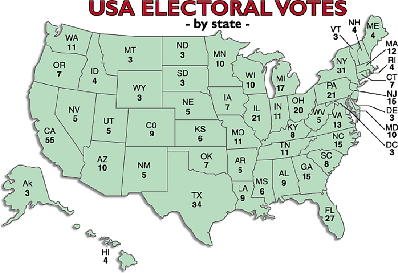 A map of U.S. Electoral College Votes by state.