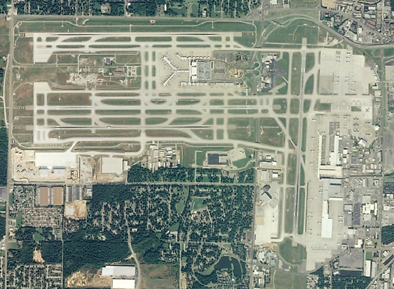 Aerial view of Memphis International Airport, the American airport handling the most cargo, in the U.S. state of Tennessee.