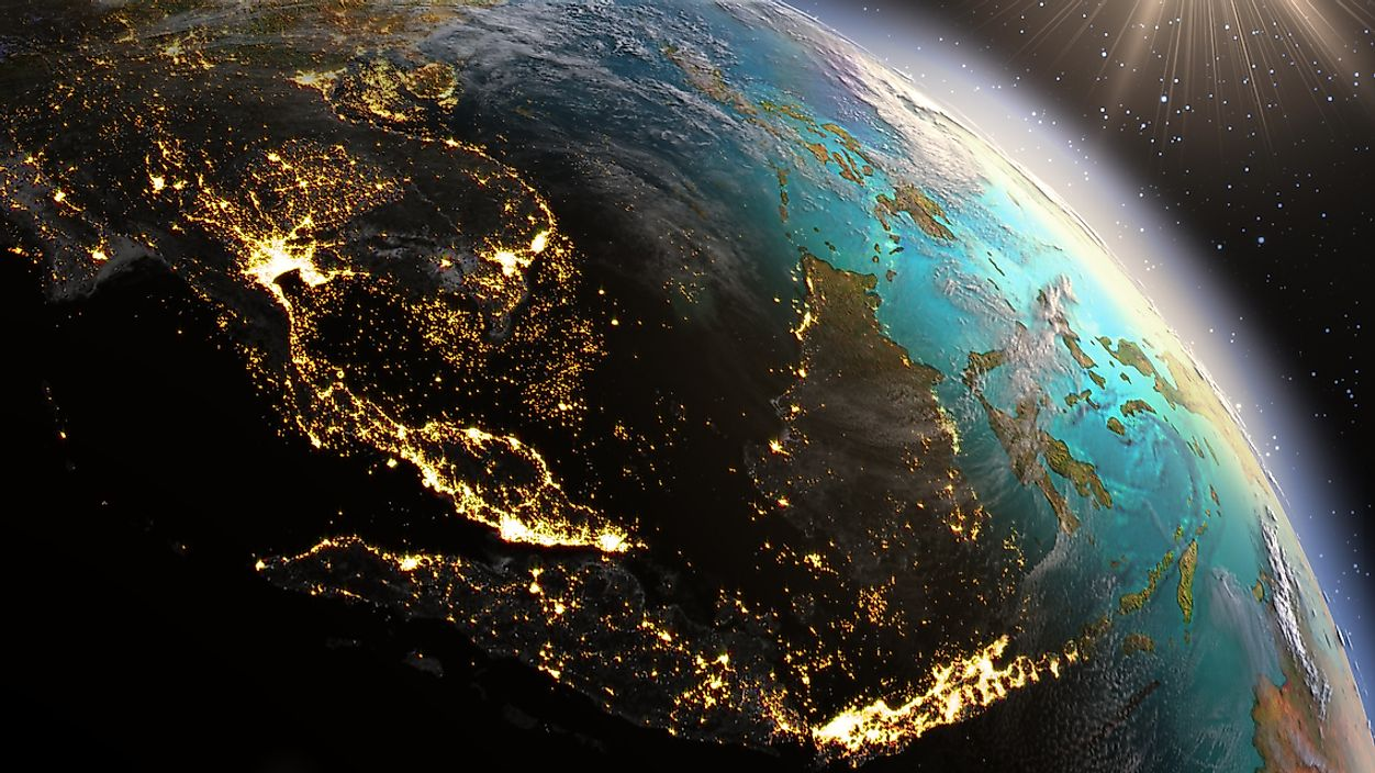 The lights from Asia seen from space.