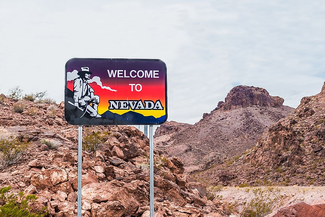 """Welcome to Nevada"" sign."