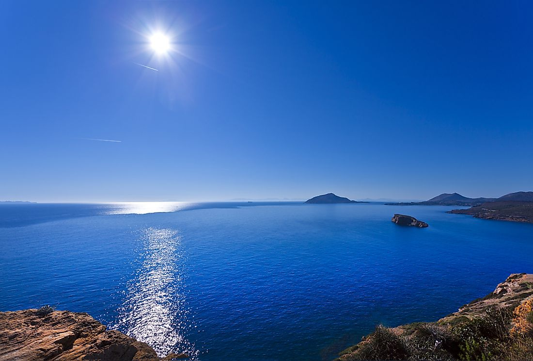 The Aegean Sea sits between the two countries of Greece and Turkey.