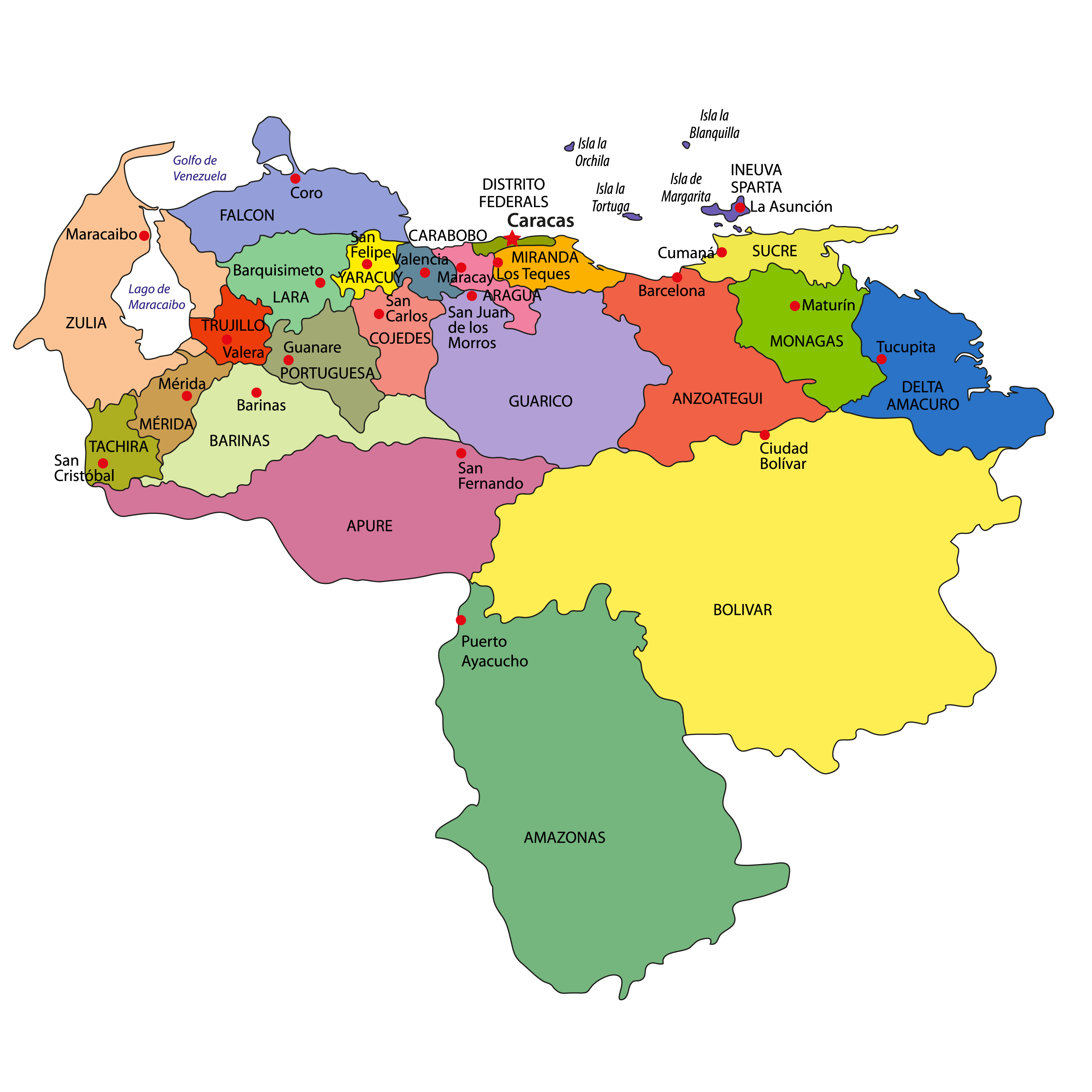 Political Map of Venezuela showing its 23 states, 1 capital district and the Federal Dependencies and the capital city - Caracas