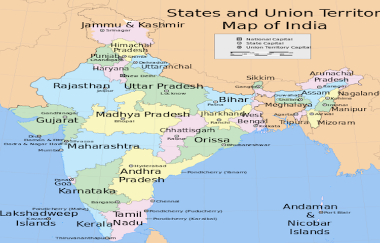 India Map With All States.State Capitals Of India Worldatlas Com