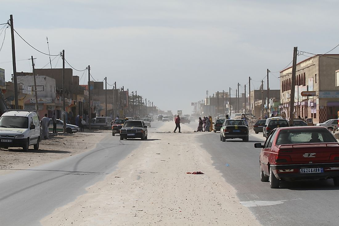 Mauritania's desert or semi-desert climate makes it hard to repair and maintain roads.