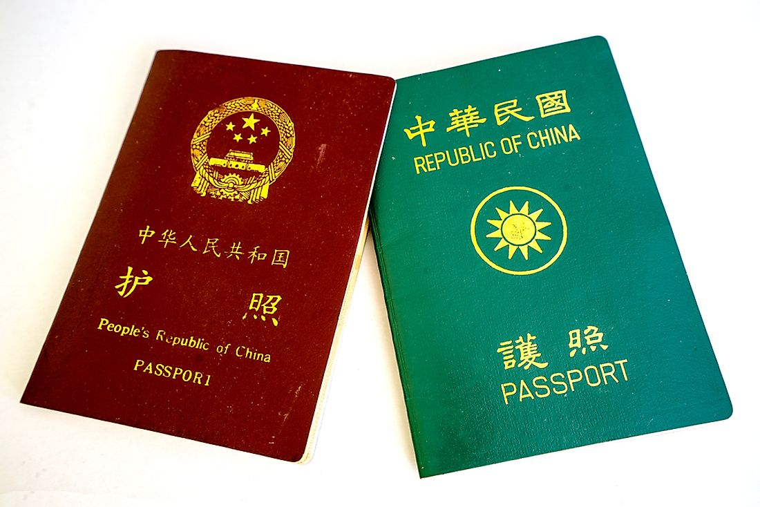 Passports showing the names of both the People's Republic of China and the Republic of China.