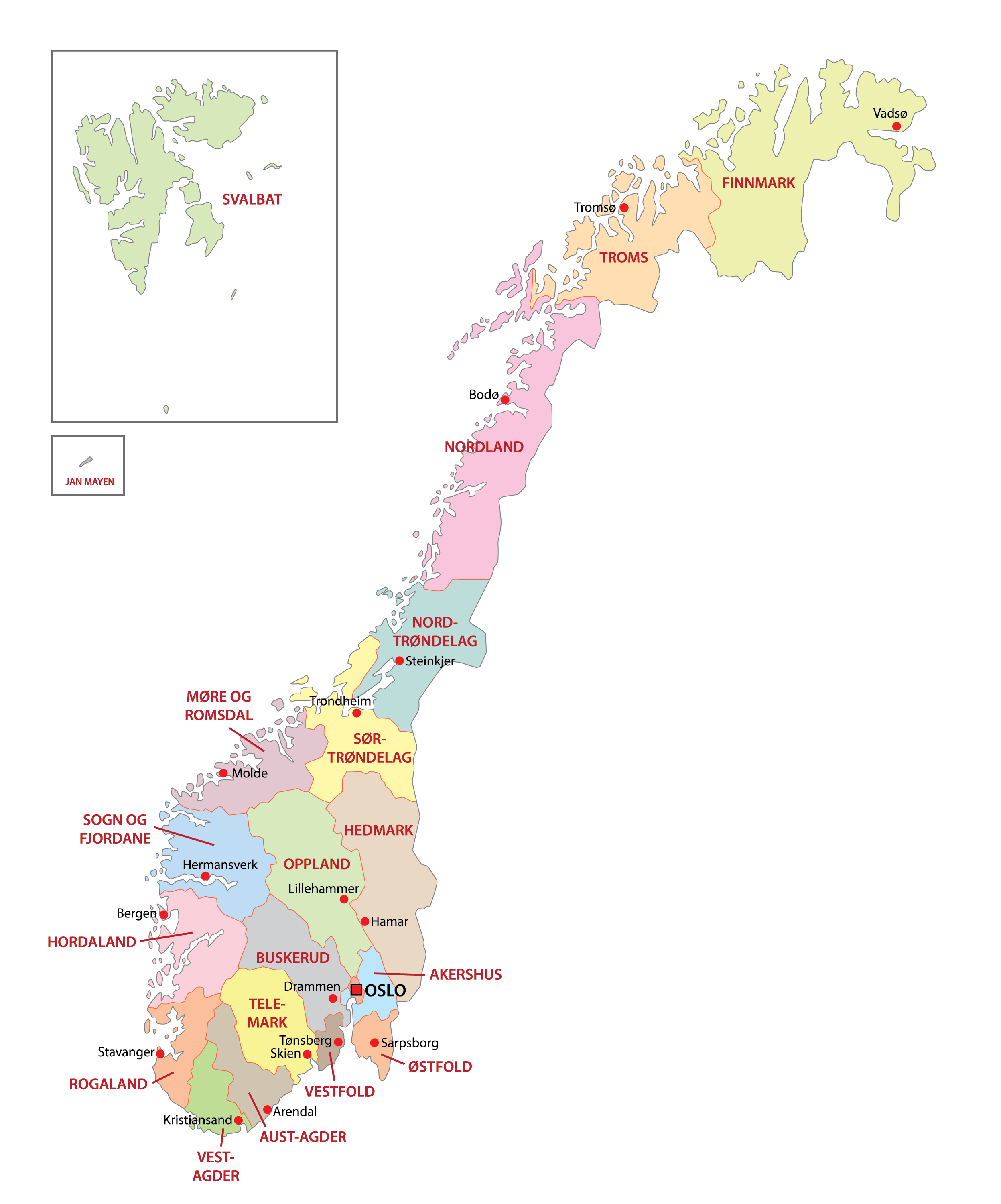 Political Map of Norway showing its 11 regions and the capital city of Oslo.