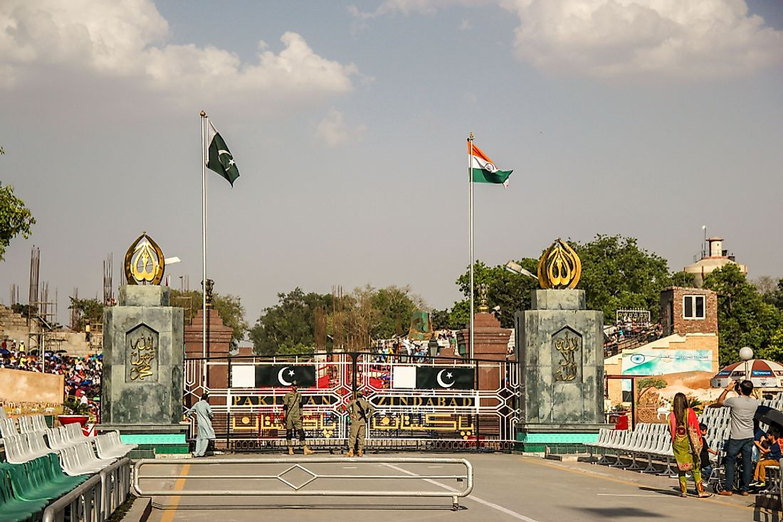 The Wagah border between India and Pakistan.Editorial credit: mimmikhail / Shutterstock.com.