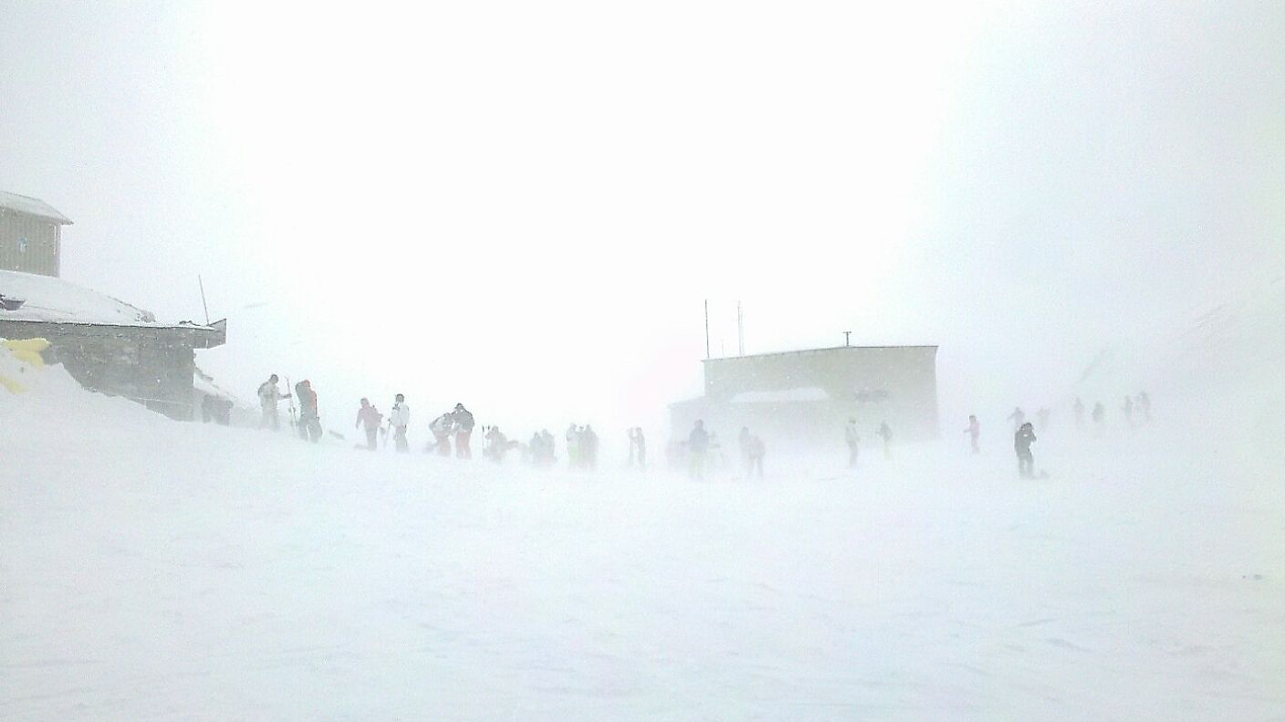 Skiers caught in a blizzard in Tehran.