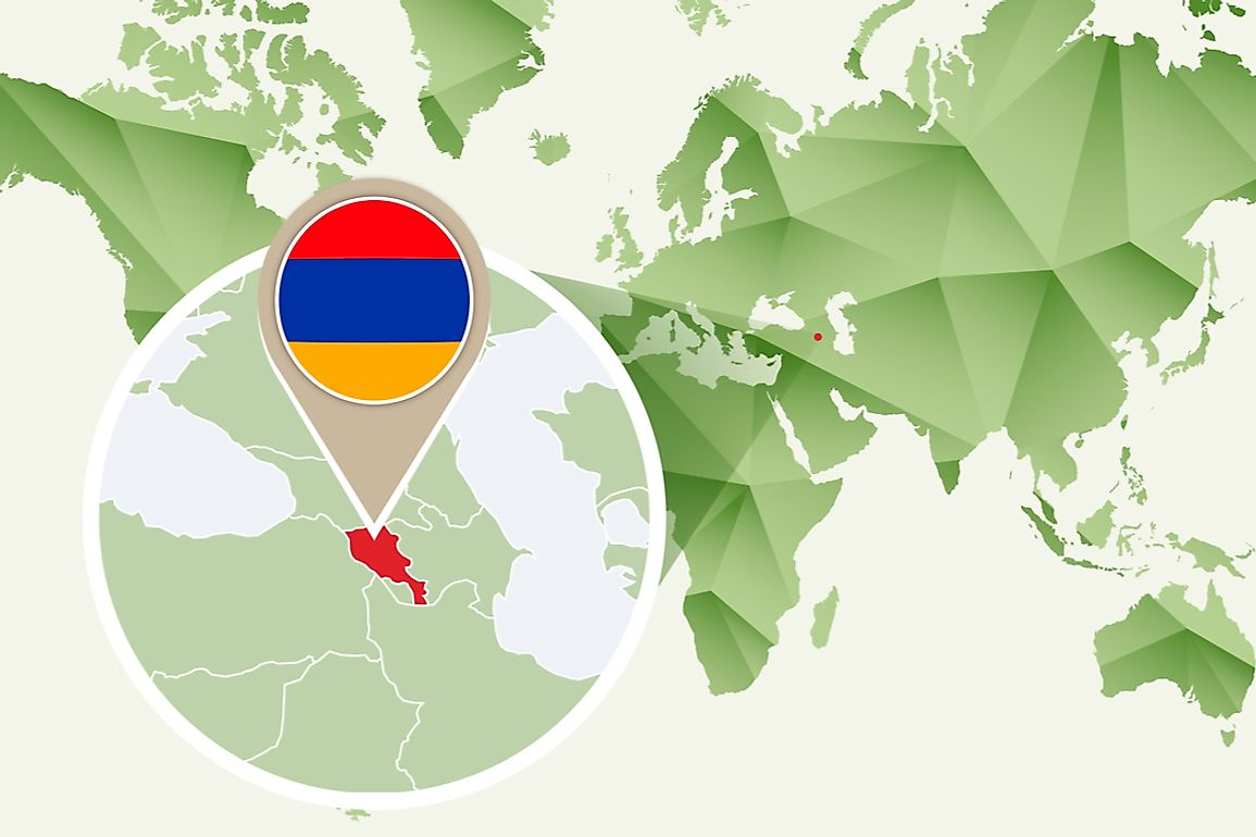 Armenia sits between the Caspian Sea and the Black Sea.