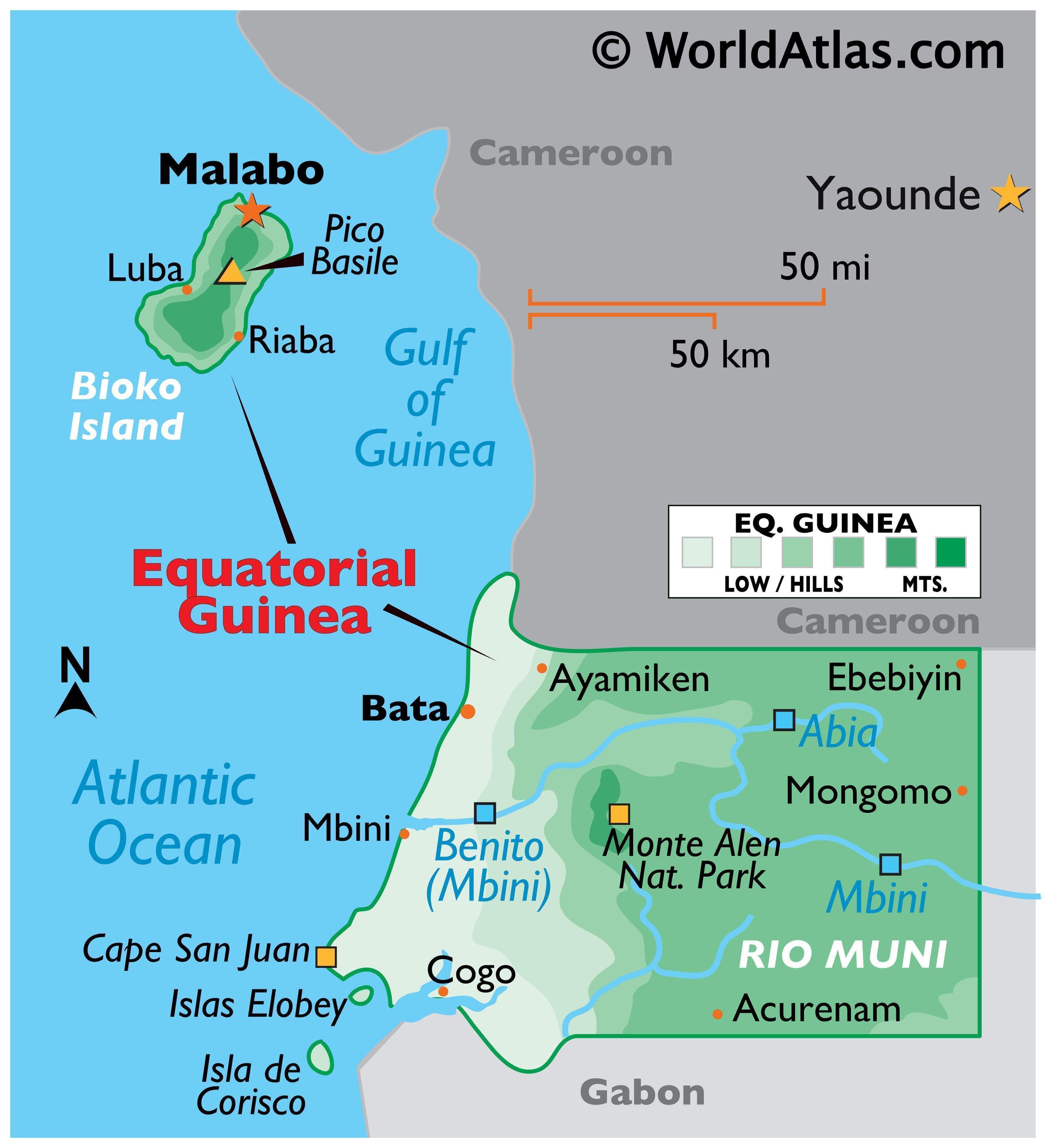 Physical Map of Equatorial Guinea showing mainland and insular parts of the country, relief, major rivers, important cities, smaller islands, and more.