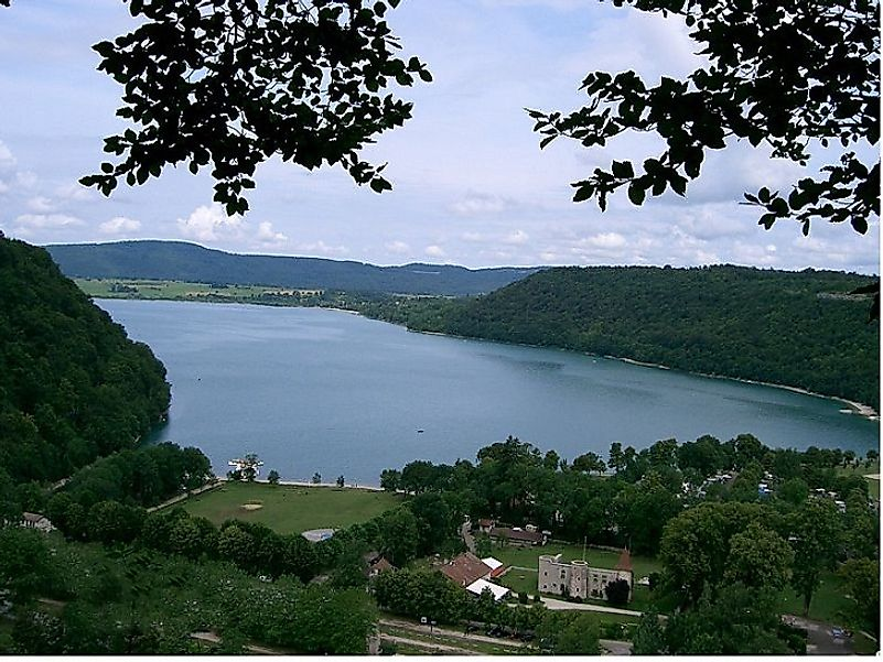 France's Lac de Chalain nestled amidst the surrounding Jura Mountains near the Swiss border.