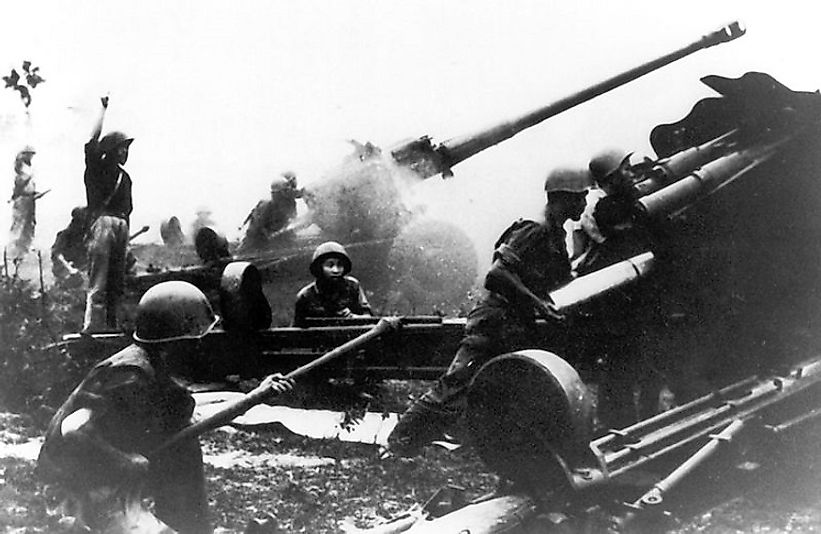 North Vietnamese artillery unit in action near Kon Tum, Vietnam during the Easter Offensive.