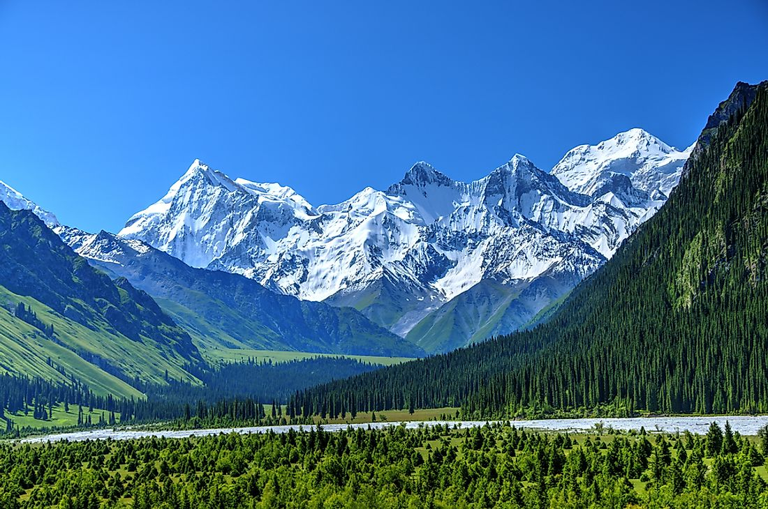 The Tian Shan mountain range extends from China to Kazakhstan and Kyrgyzstan.