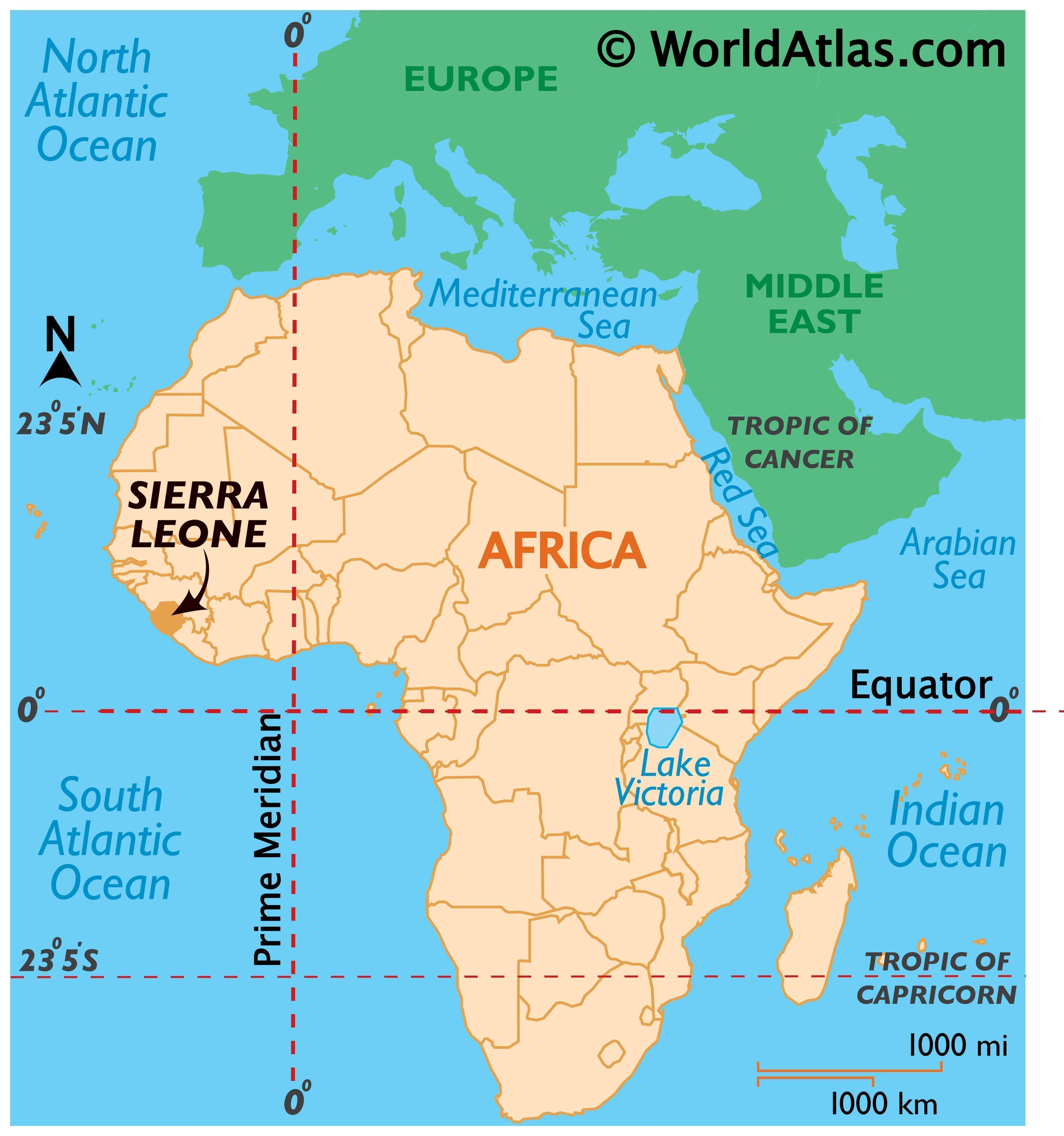 Map showing location of Sierra Leone in the world.