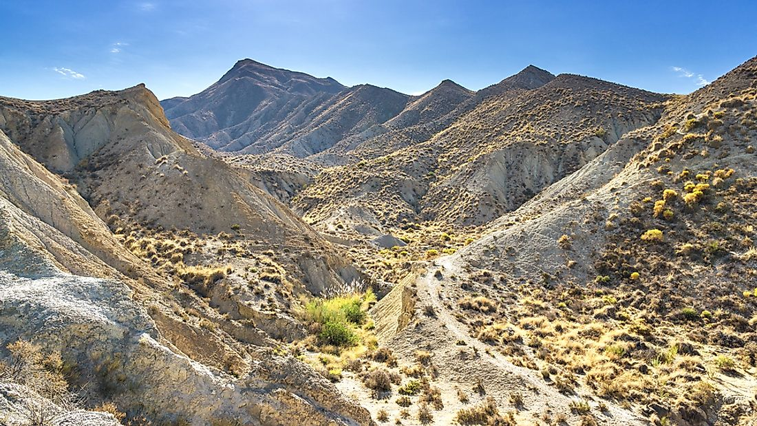 The Tabernas Desert of Spain experiences a cold desert climate.
