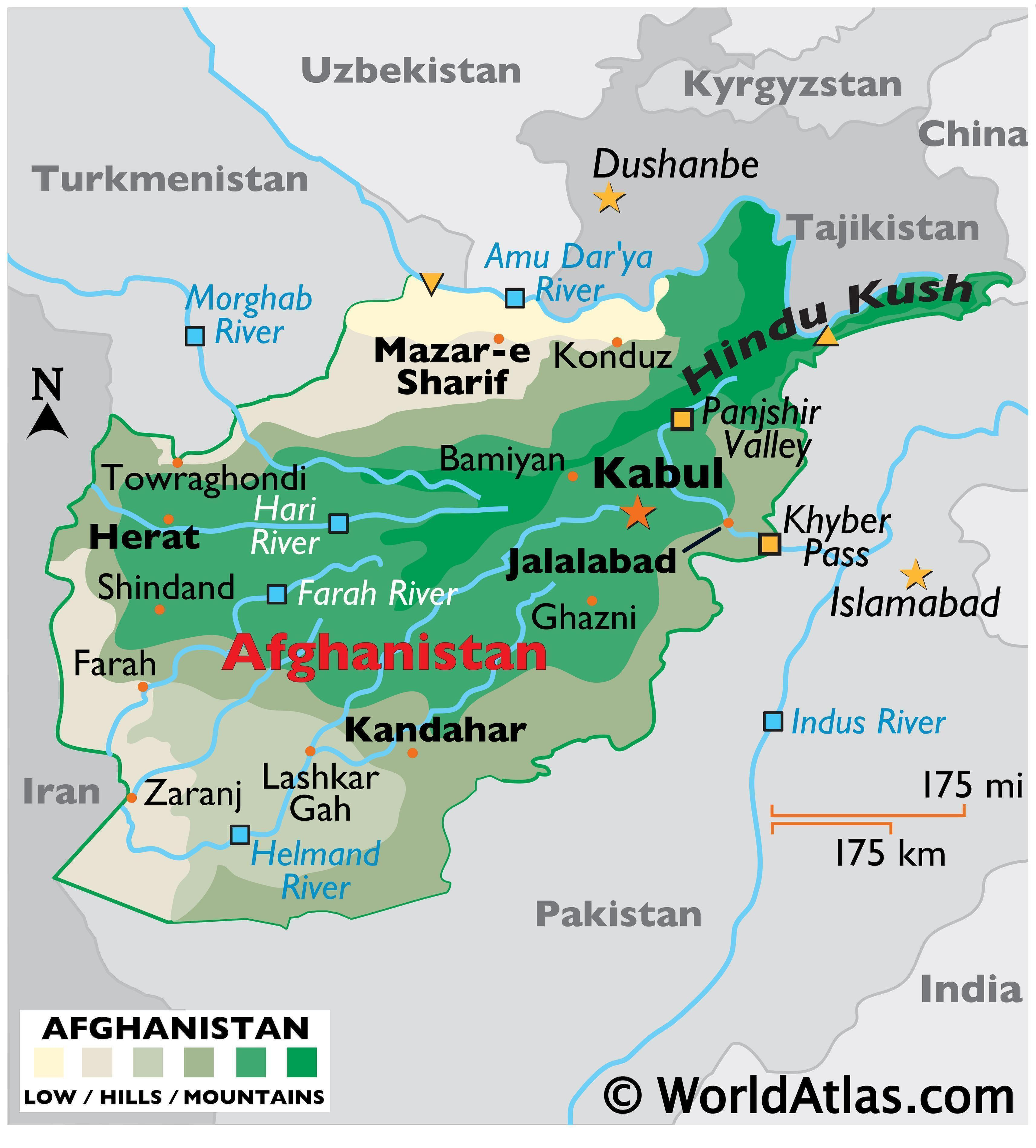 Physical Map of Afghanistan showing state boundaries, relief, major rivers, mountains, important cities, and more.