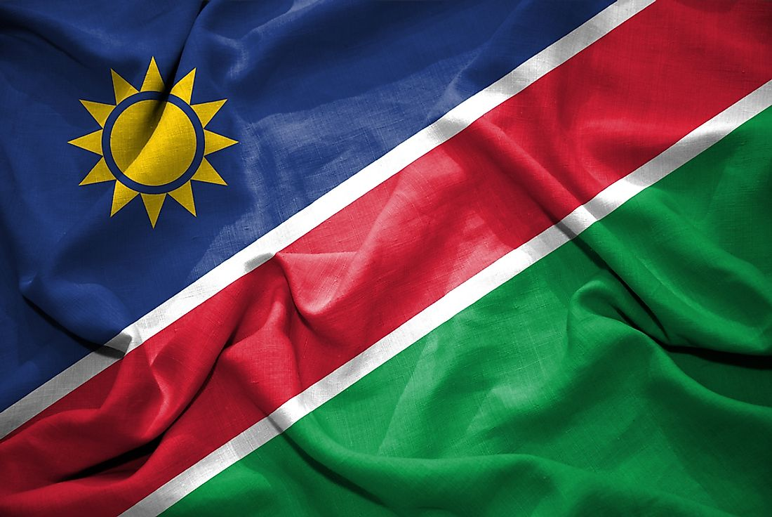 The flag of Namibia.