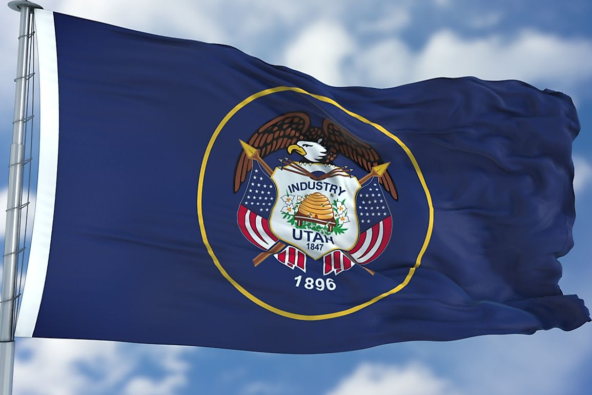 The Utah state flag features the Utah state seal.