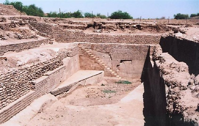 Stepwells leading into the ancient ruins of a massive public bath at Dholavira.