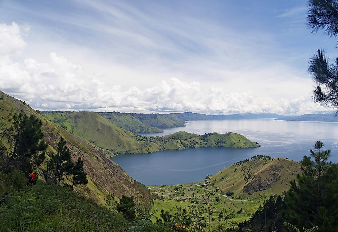 Tapanuli orangutans live in the jungles of South Tapanuli, south of  Lake Toba (pictured) in Sumatra.