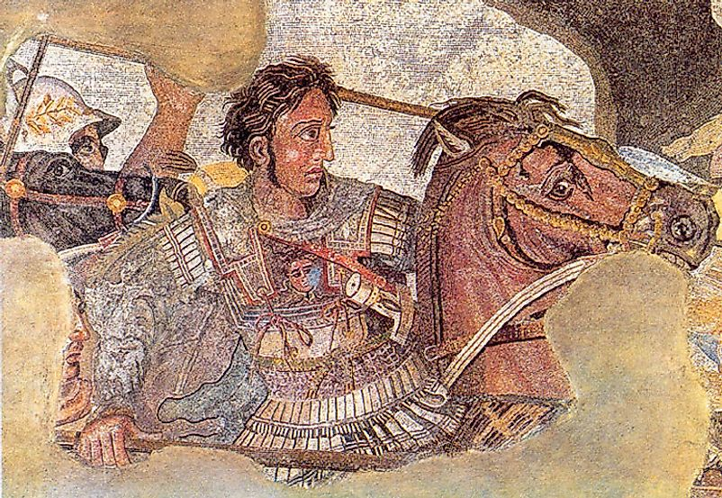 Alexander the Great depicted at the Battle of Issus against Darius III of Persia in 333 BC, as part of a larger Roman floor mosaic dating from around 100 BC.