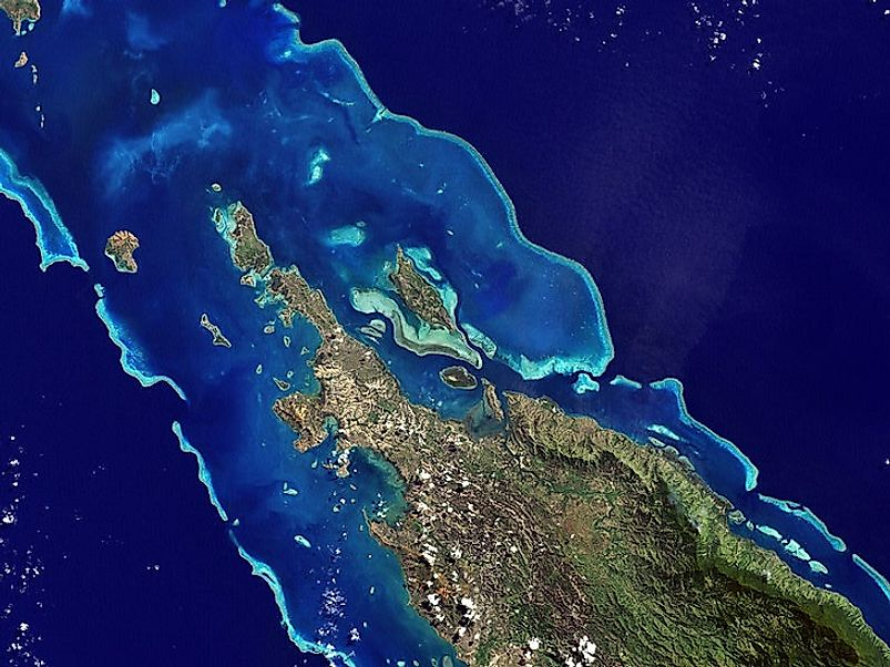 Satellite image of the New Caledonia Barrier Reef, a UNESCO World Heritage Site.
