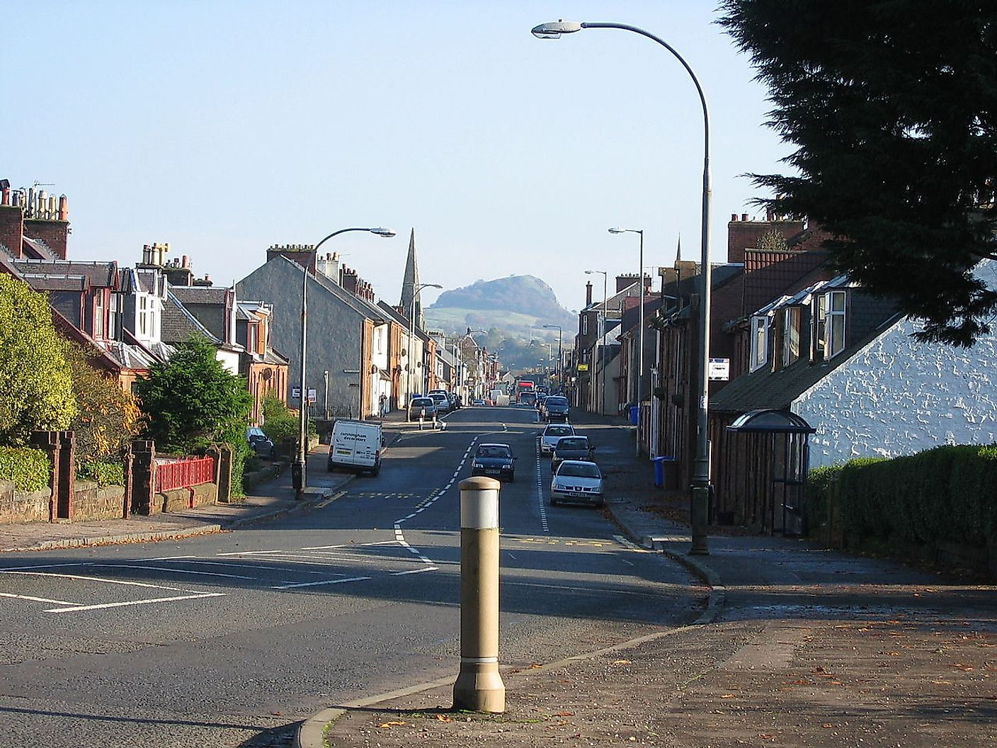 The village of Darvel, Ayrshire, Scotland. Loudoun Hill in the Background.