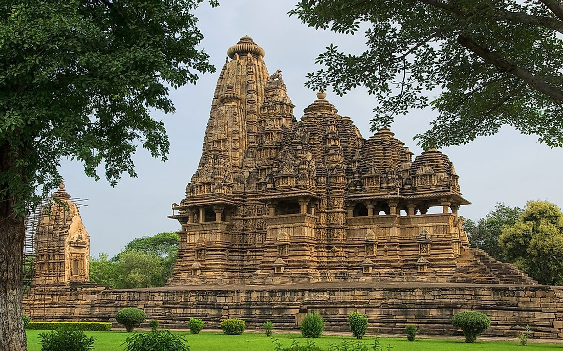 The Vishwanatha Hindu temple in Khajuraho, India is a UNESCO World Heritage site.