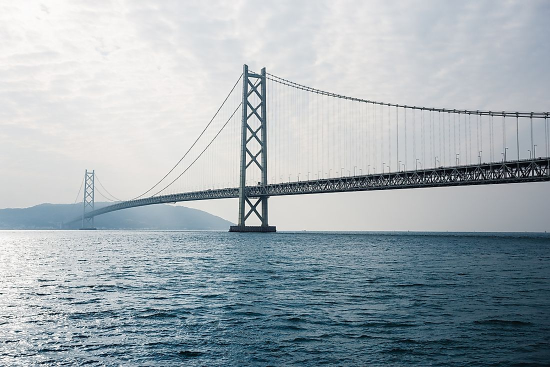 In total, the Akashi Kaikyo Bridge is 3,911 meters long.