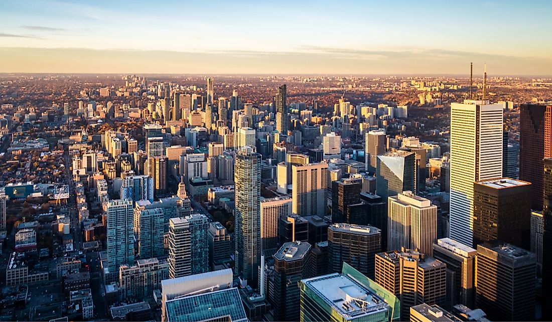 Toronto, Ontario is the country's largest city.