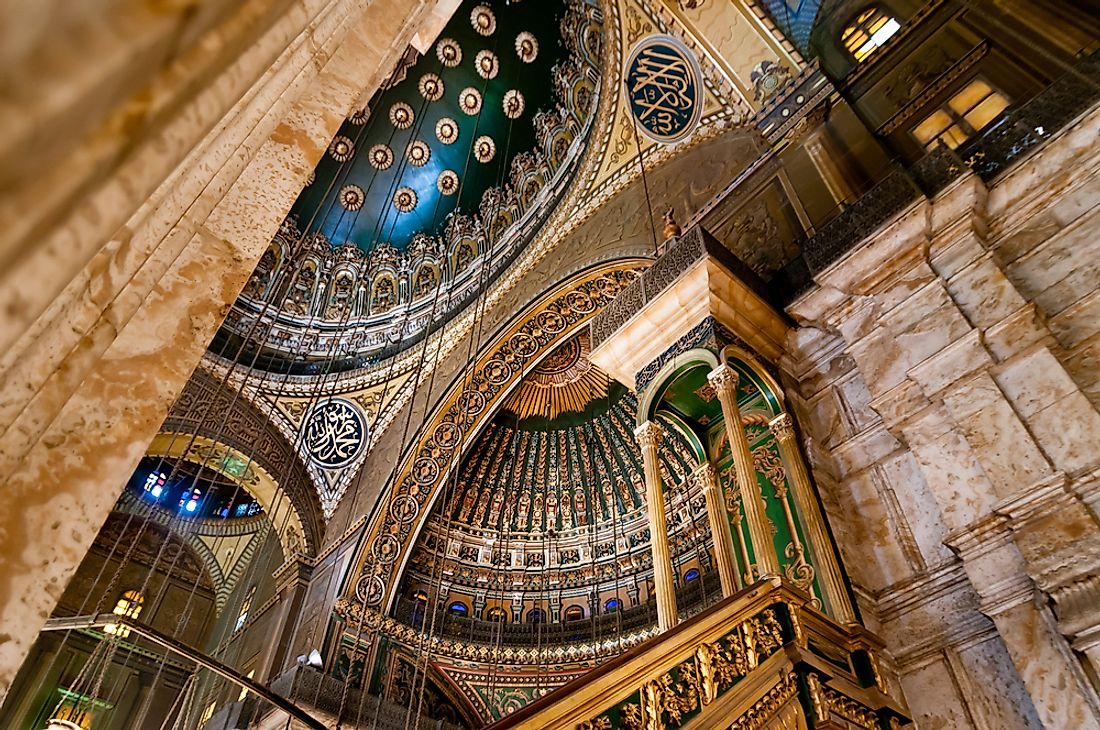 The interior of the Mohammed Ali Mosque in Cairo, Egypt. Editorial credit: cornfield / Shutterstock.com.