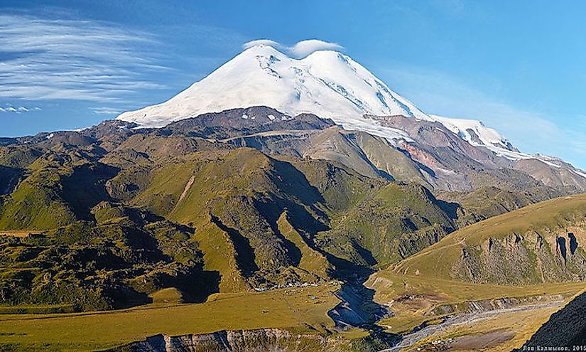 A view of the snow-cappted Mount Elbrus, the tallest mountain in Russia