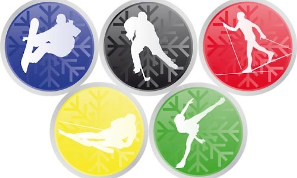 The five-ringed symbol of the Olympic Games highlighting various winter sports.