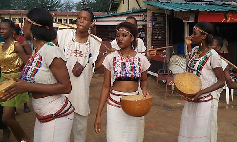 Fulani dancers in their full traditional regalia.