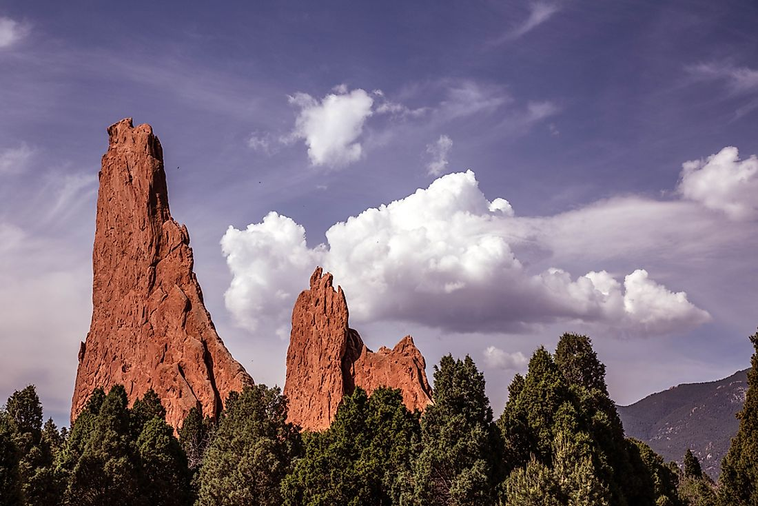The Garden of the Gods is known for its unique rock formations and contrasting landscapes.